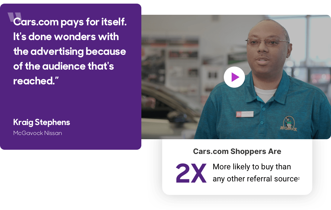 Cars.com Shoppers Are 2X MORE Likely To Buy Than Any Other Referral Source